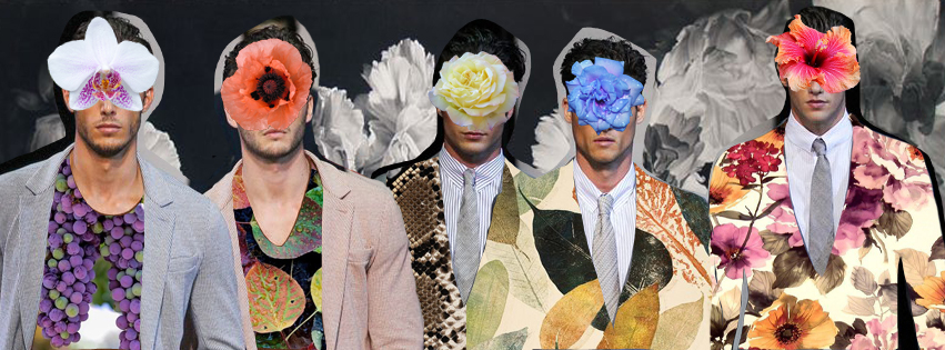 Our collage wall is about floral autumn season, patterns are the new black. Collage artwork by Fashionably Male