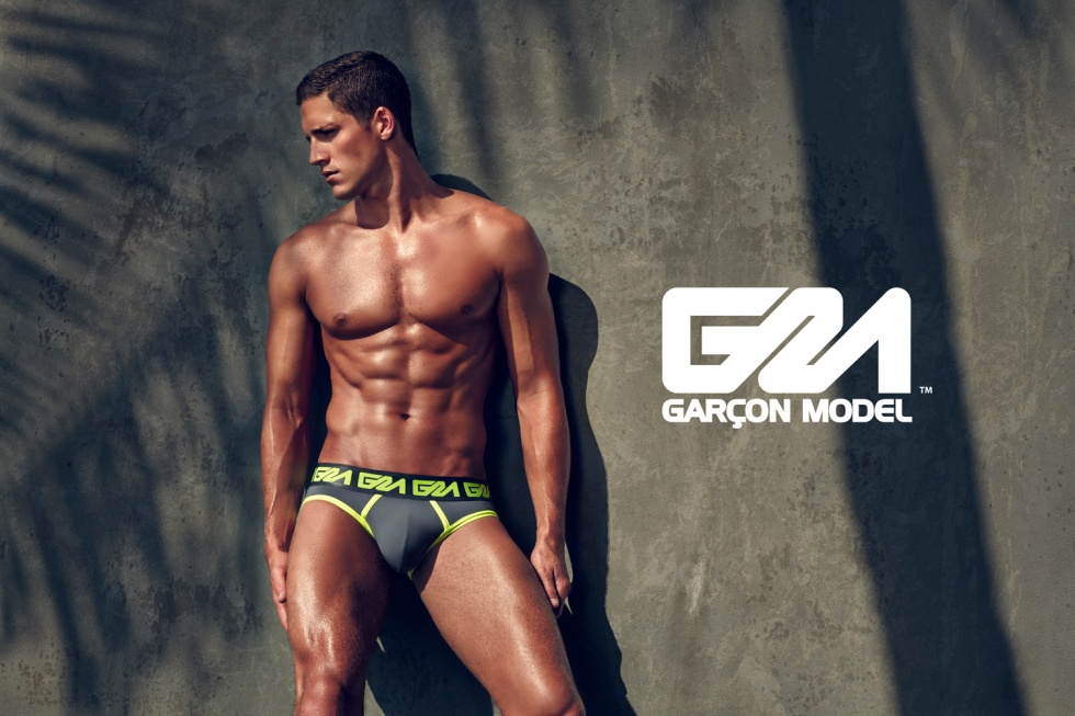 Garçon Model's high summer digital campaign starring American model Tyler Kenyon shot by Daniel Jaems. Tyler wears classic briefs and colourful trunks and boxers from the Miami Collection. Garçon Model underwear is made using lightweight figure-hugging microfibre with a bold metallic GM waistband.