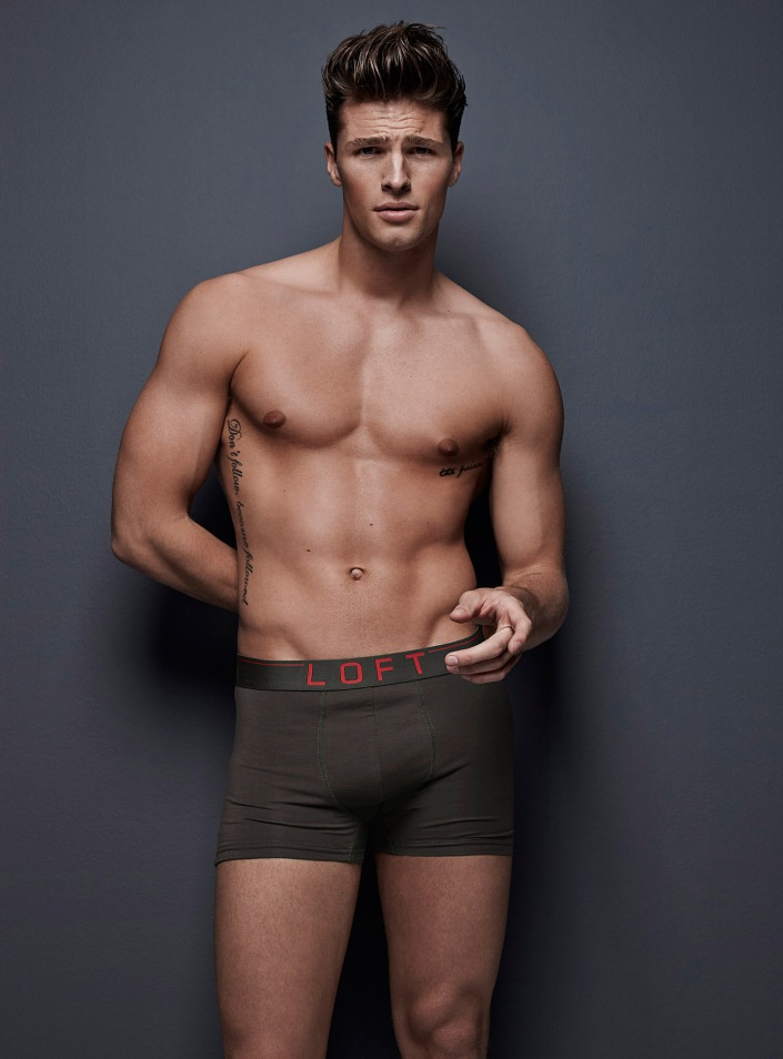 The incredibly gorgeous Brithish-born Top Model Edward Wilding at Boss Models posing in his Simons Underwear for their new image campaign.