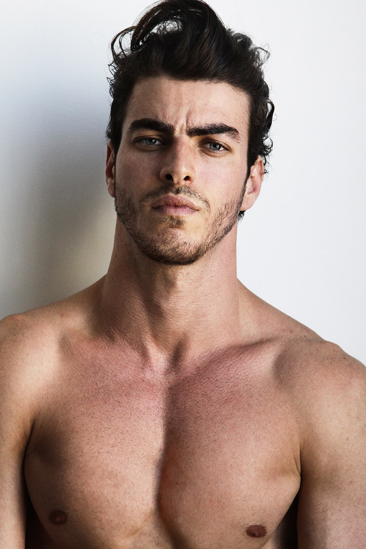 Gui is kind of old school – a classic tall, dark and handsome man with a naughty yet very sexy edge. And, of course, Gui is Brazilian. Urged by his brother to be a model, Gui found a local photographer named Malu Ornelas, who took some photos and this boy's big beautiful adventure began – first in Asia and South Africa, and in 2012, Gui joined Montevideo Model Management and did his first season in Europe.