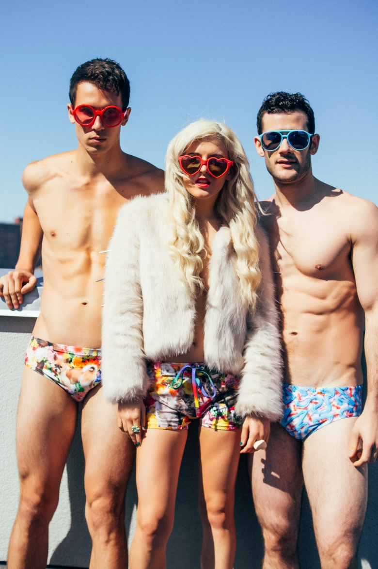 Models: Conor Guzman (MSA Models), Stephen Davis (MSA Models), and Rachel Lynch Designer: Pretty Snake Photo: Brittanny Taylor