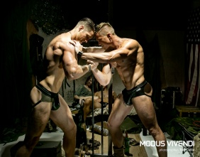Modus Vivendi releases the new Military Line Modus Vivendi proudly presents the second part of its 2015 campaign in which its new collection is presented over a huge 10-part series in which the latest Modus Vivendi lines are sent around the globe to be worn by some of today's most charismatic models and photographed by 10 visionary photographers. After our first stop in Leicester, England, where we saw the Pride line sumptuously photographed by Gavin Harrison, our next stop is beautiful Newport Beach, California. The line presented is Modus Vivendi's new Military line and the photographer who created these knock-out images is the renowned Tom Cullis. Recruiting an army of seven models (five men and two women) Cullis set to work interpreting the spirit of this new line and the results are, we think, sensational. Xavier Guttierez, Adam Fletcher, Darrell Thomas, Matt LeMond, Rocky Russo, Mona Dash, Erin Lup and set assistant Joseph Sayers worked together with the photographer to create some of the most striking Modus Vivendi campaign images we have ever seen. The Military line comprises boxers, briefs, jockstraps and tank tops along with hoodies, joggers and bermuda style shorts. All in khaki and black tones. A range of outstanding quality fabrics, with blends of cotton, wool, polyester and acrylic, has been used with touches of leatherette and other stylish details to create a mesmerising male clothing line, perfect for the upcoming winter. Credits: Underwear and clothing: Modus Vivendi (www.e-modusvivendi.com) Photographer: Tom Cullis (www.tomcullisphoto.com) Set assistant: Joseph Sayers Models: Xavier Gutierrez (NTA LA) Adam Fletcher (NTA LA - W Athletic-London) Darrell Thomas (NTA LA) Matt LeMond (NTA LA) Rocky Russo Mona Dash Erin Lup