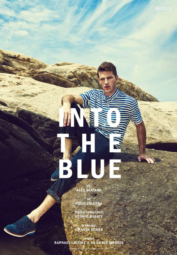Reflex Homme Summer 2015 Into the blue Photographer: Alex Santana. Stylist: Paulo Zelenka. Digital retoucher: Octavio Duarte. Grooming: Amanda Schon.