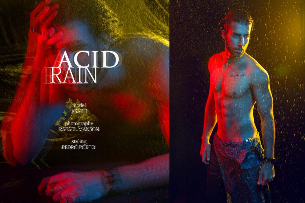 "Striking Brazilian fresh face Asaph Nestor stuns in this splendid ""Acid Rain"" the new set by photographer Rafael Manson."