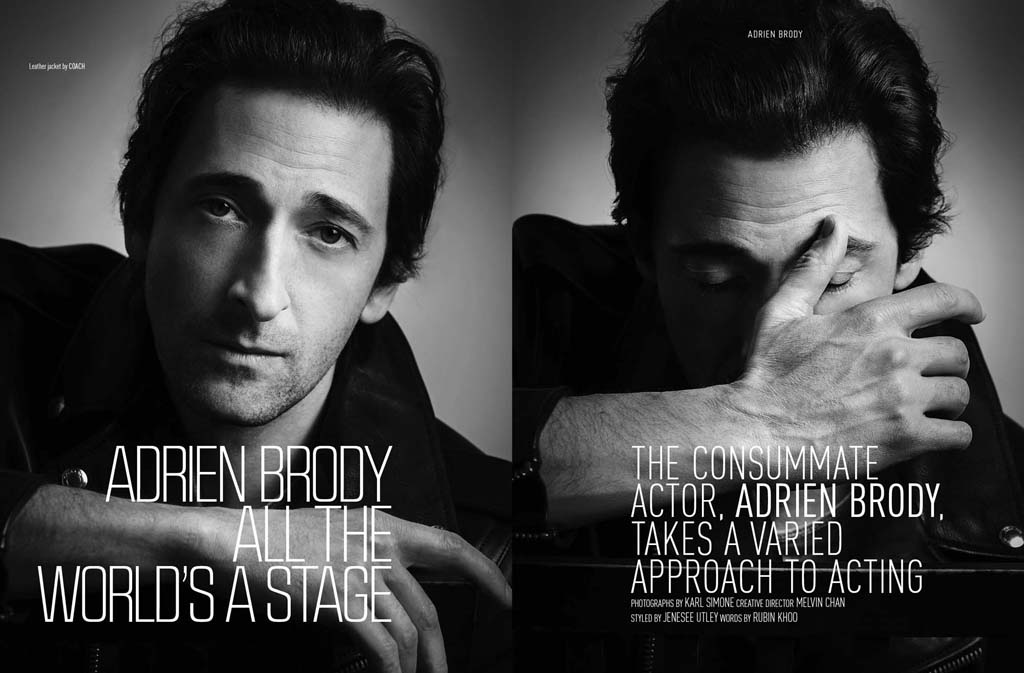 Actor Adrien Brody is posing for the lens of NYC fashion photographer Karl Simone for August Man Malaysia issue February 2015. Creative Director by Melvin Chan, styled by Jenesee Utley. You can read a very interesting review of Brody's career as an actor, written by Rubin Khoo, while the actor is posing in fashionable garments like Dolce&Gabbana, John Varvatos, Uniqlo and Tommy Hilfiger among others.