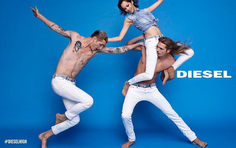 Resounding a clear siren for tolerance, equality and unconditional love, Diesel launches its Spring/Summer 2015 advertising campaign. Conceived by creative director Nicola Formichetti and styled by Anna Trevelyan, the campaign will run with the hashtag #DieselHigh because of its provocative and optimistic implications—urging to live life in the moment and to enjoy the ride.