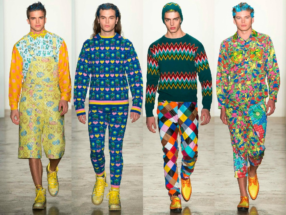 Colorful and child to some extent, the winter collection of Jeremy Scott is inspired garments harlequins and striking colors. The prints range from hearts jersey sweaters and pants to Nordic tissues representing the pop irony designer.