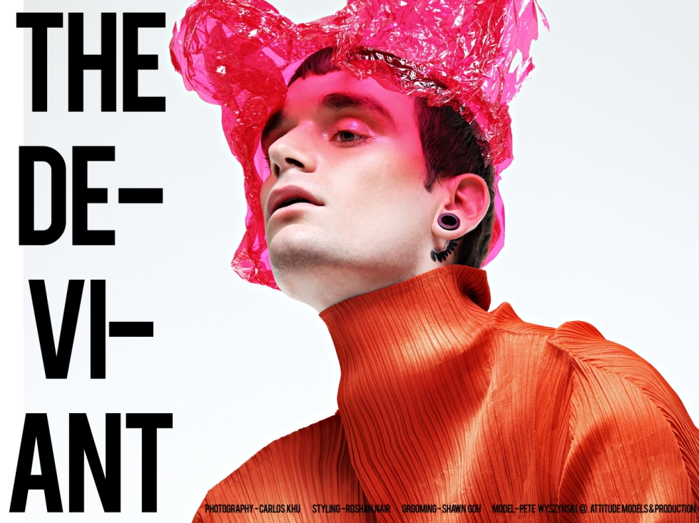 """The Deviant"" artist photographer Carlos Khu presents his new work with us, starring by model Pete Wyszyński from Attitude Models & Production. Superb set photography, fashionable garments, originality and professional work this could not do it without styling by Roshan Nair, grooming by Shawn Goh."