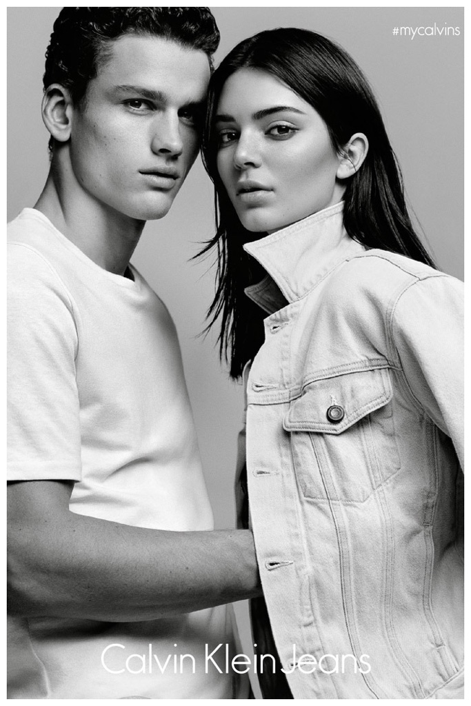 WWD unveils a look at Calvin Klein's latest casual outing. Canadian model Simon Nessman joins reality television star Kendall Jenner for a new advertisement from Calvin Klein Jeans. The #mycalvins campaign celebrates the label's most recent range of iconic sporty styles. The limited-edition offering will be available at Opening Ceremony on April 15, 2015, followed by a release on CalvinKlein.com on May 15th. / Photo by Alasdair McLellan. Styling by Melanie Ward.