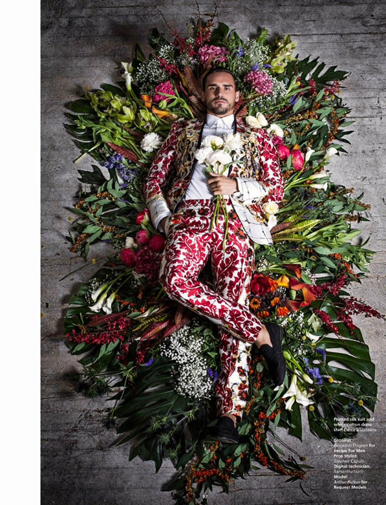 """Flowers mixed up with guys make a good combination for a fashion editorial. Here's """"Full Bloom"""" starring by Arthur Kurkov for L'official Hommes Middle East S/S 2015 photographed by Gregory Vaughan and styled by Matthew Marden."""