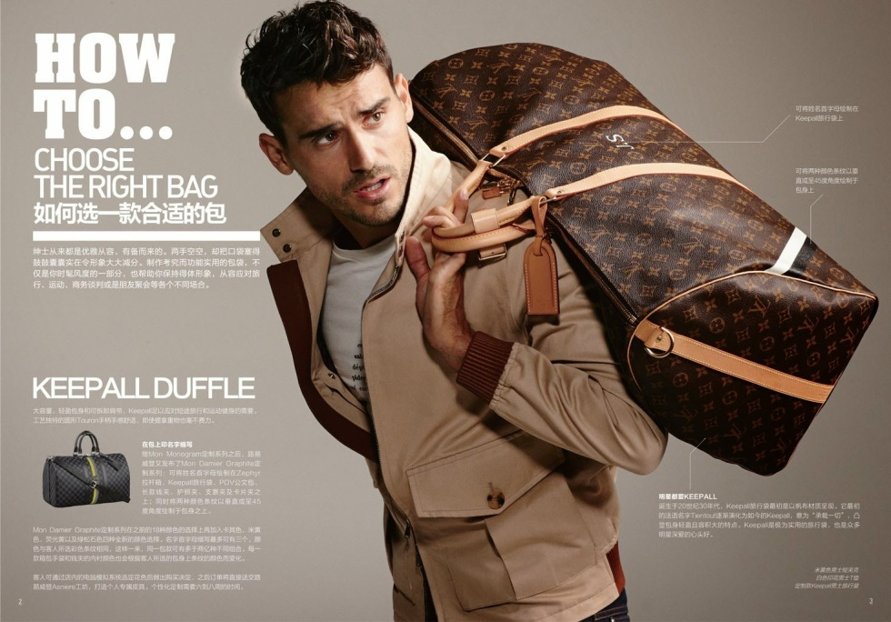 """GQ China made a fabulous """"how to"""" theme explaining how to choose the right bag, how to wear the right jackets, etc. Photographed by Arnaldo Anaya Lucca. Stylist: Grant Pearce.Starring by Arthur Kulkov and Zhao Lei."""