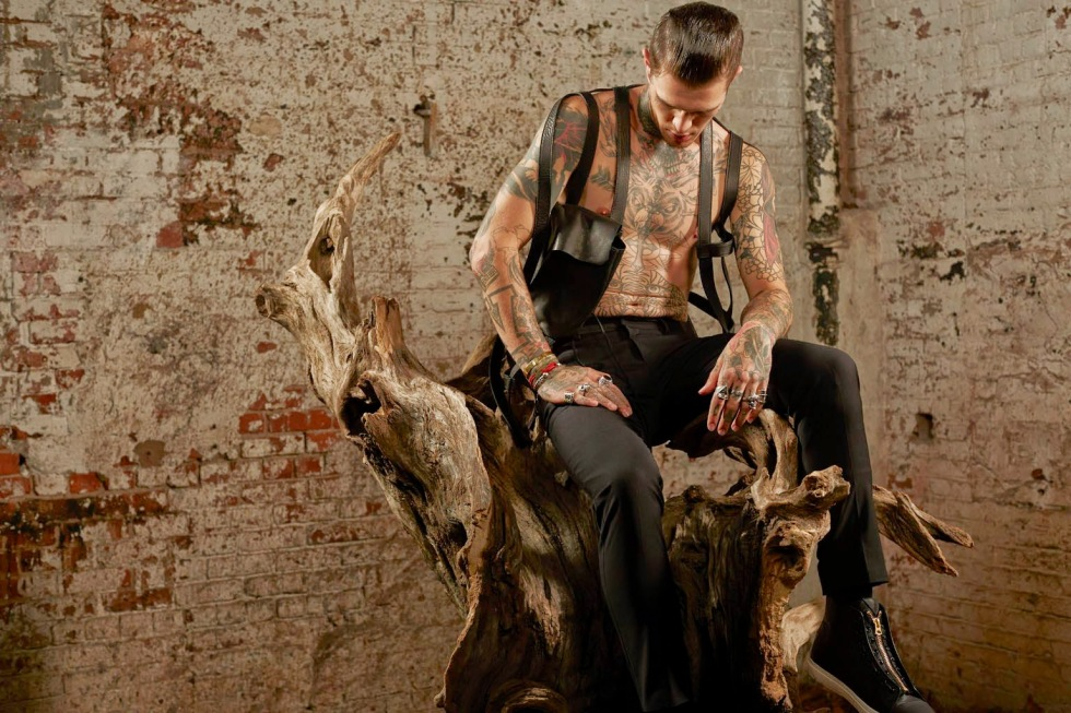 Inked super model Jimmy Q strikes a pose in an autumnal themed story for the S/S 2015 issue of 5cm, full of hard edged designs and a lovely pet, shot by David Roemer and styled by Christopher Campbell.