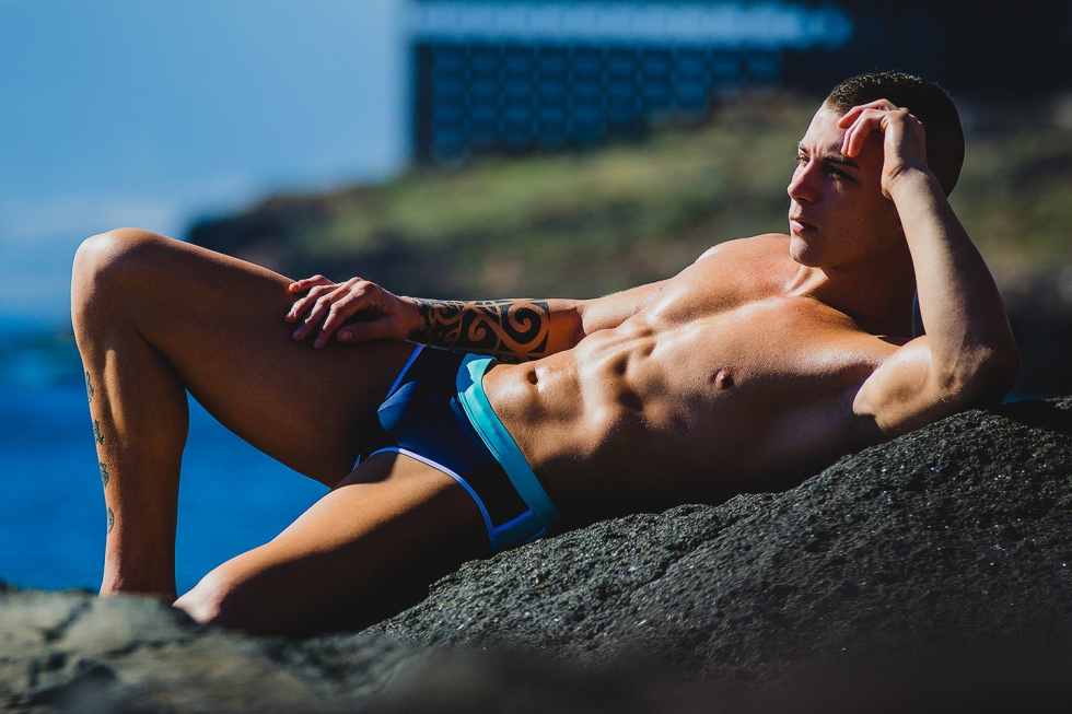Christopher García is 28 yo and he's a professional Jui-Jitsu fighter, but now he's posing for ST33LE Swimwear, shot at Tenerife by talented Adrián C. Martín.