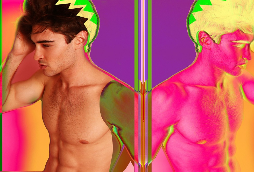 Favorited and role model Karim Konrad spreads this shine and colorful snaps in an exclusive for Fashionably Male starring new dashing face and body Nyck Silverstein.