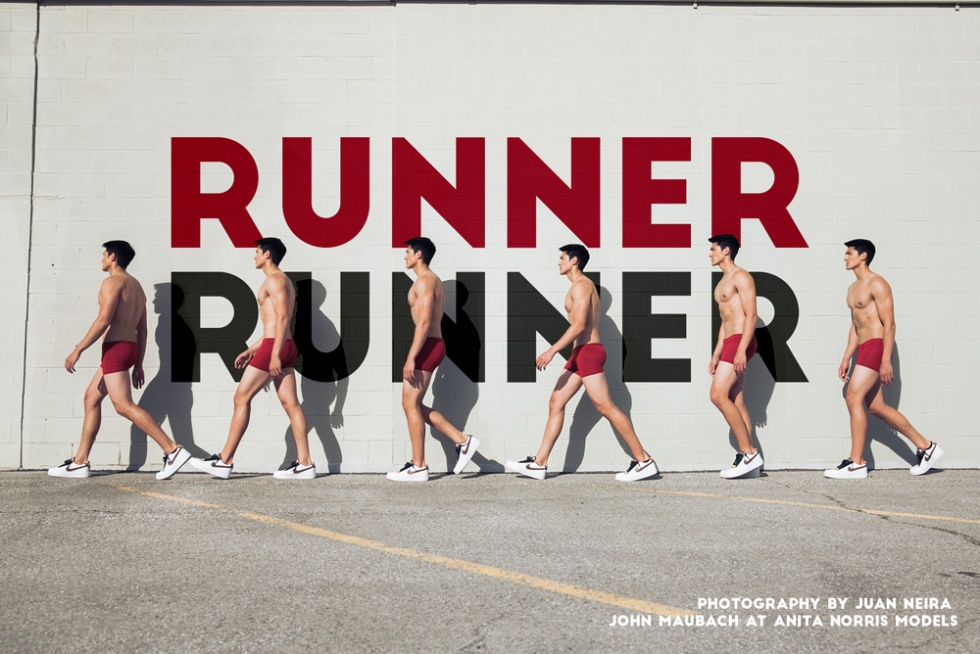 """Introducing stunning work with the amazing John Maubach at Anita Norris Models in Canada. Story is an exclusive for Fashionably Male called """"Runner Runner"""". Photographed and Styled by Juan Neira. Neira is ready to hit the streets of NYC one more time to work."""