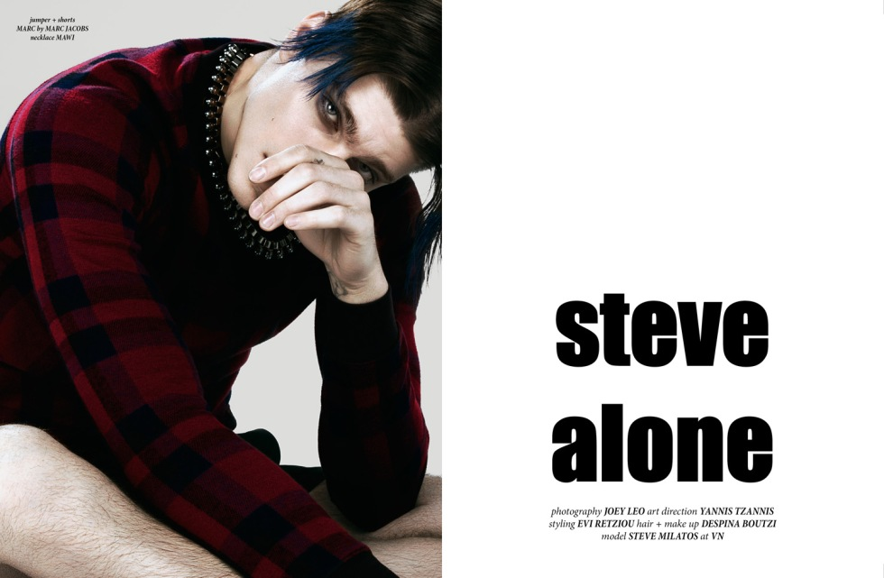 "Photography by Joey Leo and Styling by Evi Retziou presenting Steve Alone a fashion editorial with top model Steve DF ""Stefanos Milatos"" for a Cover story (spreads) for CHASSEUR issue #10 (spring/summer 2015). Make Up: Despina Boutzi Art Direction: Yannis Tzannis"