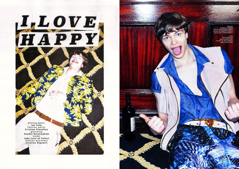 "Super model Jake Love embraces this lovely editorial for Carbon Copy photographed by Ian Cole ""I Love Happy"" is in the Issue no. 21 S/S 2015. Styled by Cristina Planelles, grooming by Sandra Bermingham and charming Jake Love at Select."