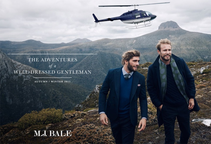 "Excerpt from M.J. Bale Autumn/Winter 2015 Men's Campaign. M.J. Bale took to the rugged wilds of Cradle Mountain, Tasmania, to shoot the brand's Autumn/Winter 2015 campaign, conceived as the ""Adventures of a Well-Dressed Gentleman."""