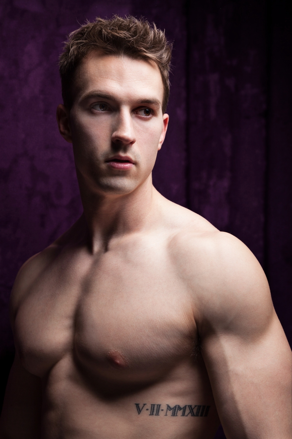 """Every single image is turning viral from Paris based photographer Mateo Armand. Here's """"Purple Night"""" a portrait with stunning beautiful male model Romain Labard. Can't judge, just admire."""