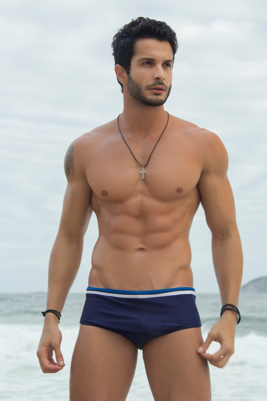 Fitness motivation with Brazilian fitness male model Gabriel Macieira in a beach session taken by Gustavos Bastos.