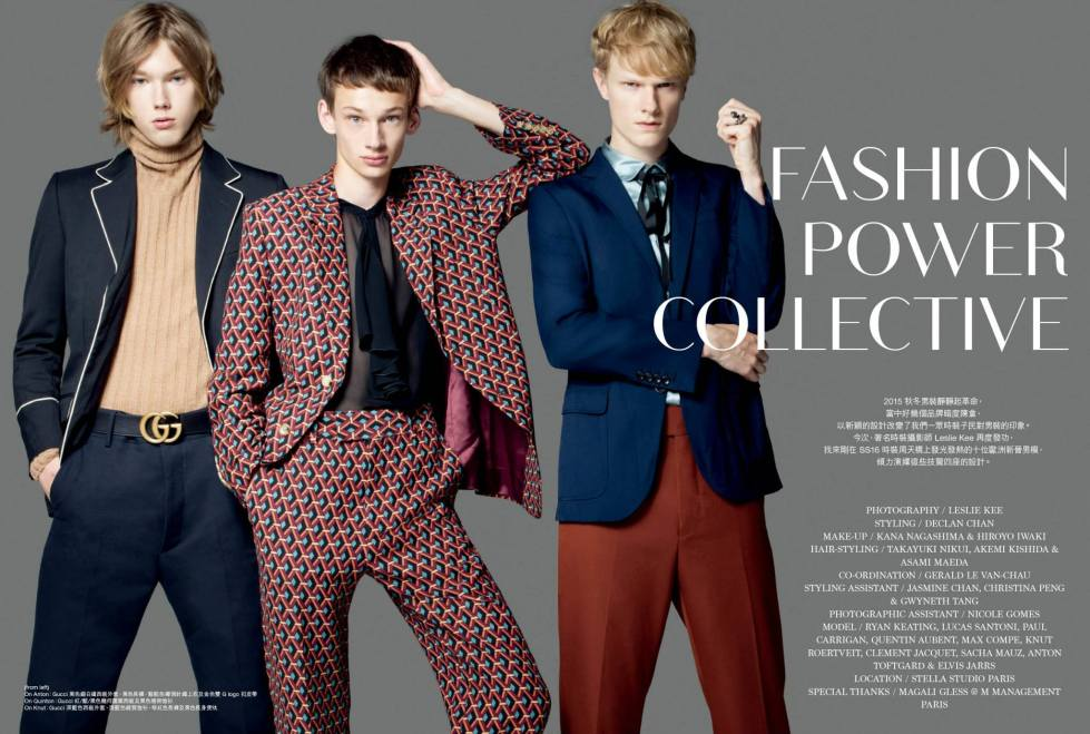"""""""Fashion Power Collective"""" the new fashion editorial available at Men's Uno China August 2015 photography by Leslie Kee, styled by Declan Chan and starring by Ryan Keating, Lucas Santoni, Paul Carrigan, Quentin Aubent, Max Compe, Knut Roertveit, Clement Jacquet, Sacha Mauz, Anton toftgard and Elivs Jarrs at Stella Studio Paris."""