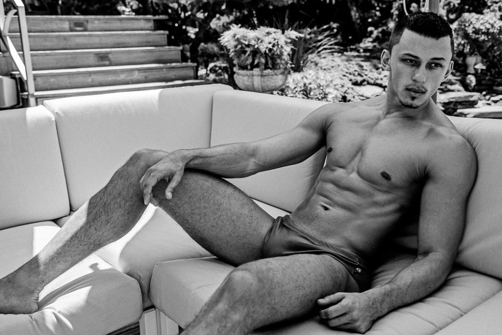 Stellar swimming pool session serves as an impeccable backdrop to duo photographers Kammera Addikt's latest session starring the sexy hunk model Dimitriy Palladiy.
