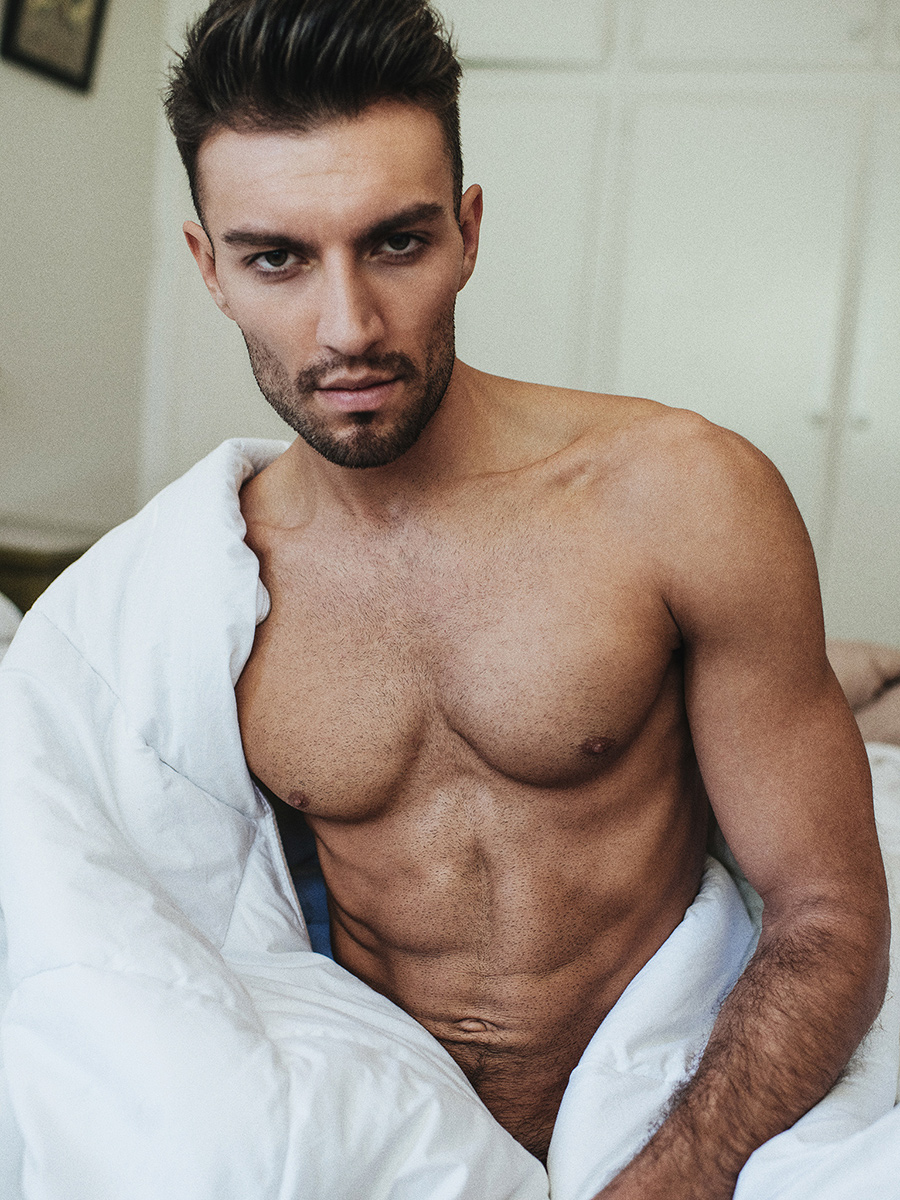Every single shot of this stunning work by Serge Lee is hotter than before, featuring adonis male model Jared North posing naked in a solo intimate bedtime shooting.