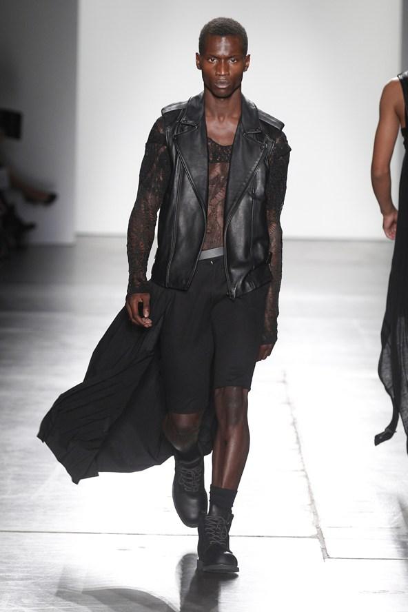 ADA+ NIK presented at Women's Collection in New York City some designs for men, back to black, nude and leather dark motto jacket is so trendy for this Spring 2016, and this was a dark side two showed in Mens London Collection this early year.