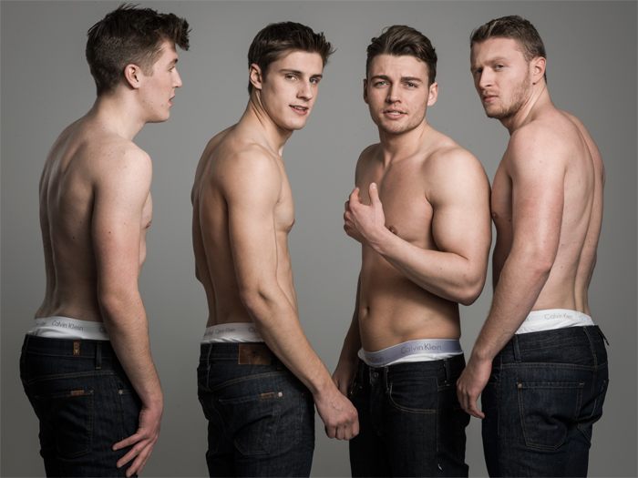 (L-R): Thomas wears jeans by Seven, Matt wears jeans by Seven, Laurence wears jeans by Adriano Goldschmied and Oliver wears jeans by Seven. All wear underwear by Calvin Klein.