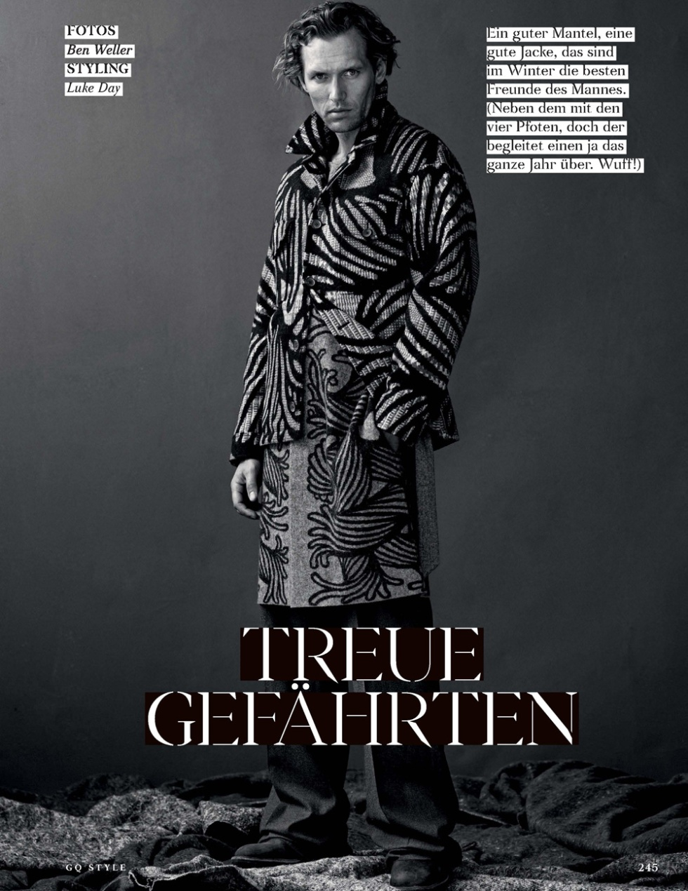 "GQ Style Germany presents the work of Bel Weller, styling by Luke Day and featuring Robertas Aukstuolis from Select Model in ""Treue Gefährten""."