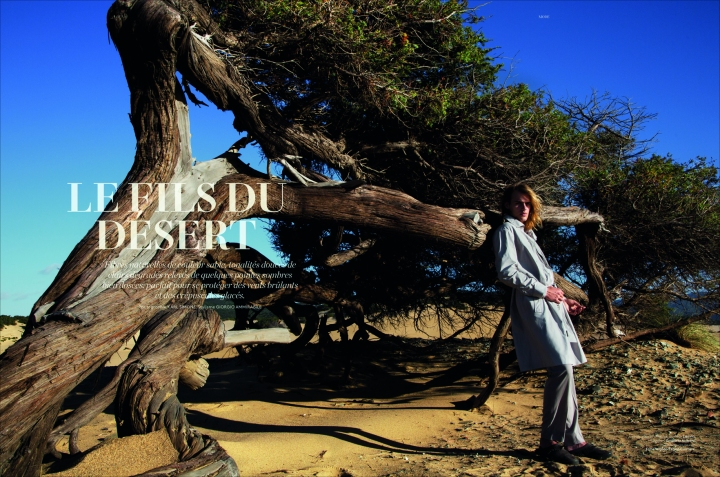 """Les Fils du desert"" work by photographer Karl Simone and top model Ton Heukels for L'Officiel Hommes Switzerland. Styled by Giorgio Ammirabile."