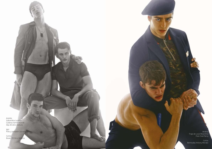 About face! 1, 2, 3, Hey, Army Boys! Production by Mateo Carrasco, photography by Chesco López, styled by Jose Herrera, and Army Boys are Andrés Sanjuan and Carlos (Sight Management) also Igor.