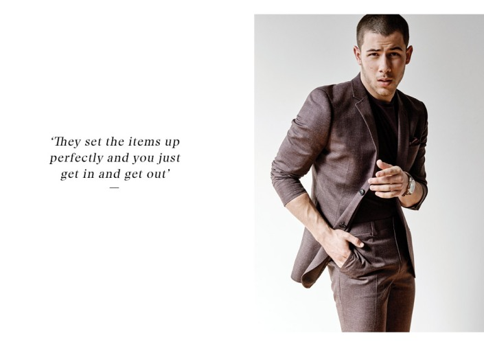 Nick Jonas remembers his first suit fondly: a green double-breasted suit that he wore with braces and a bow tie at age three.