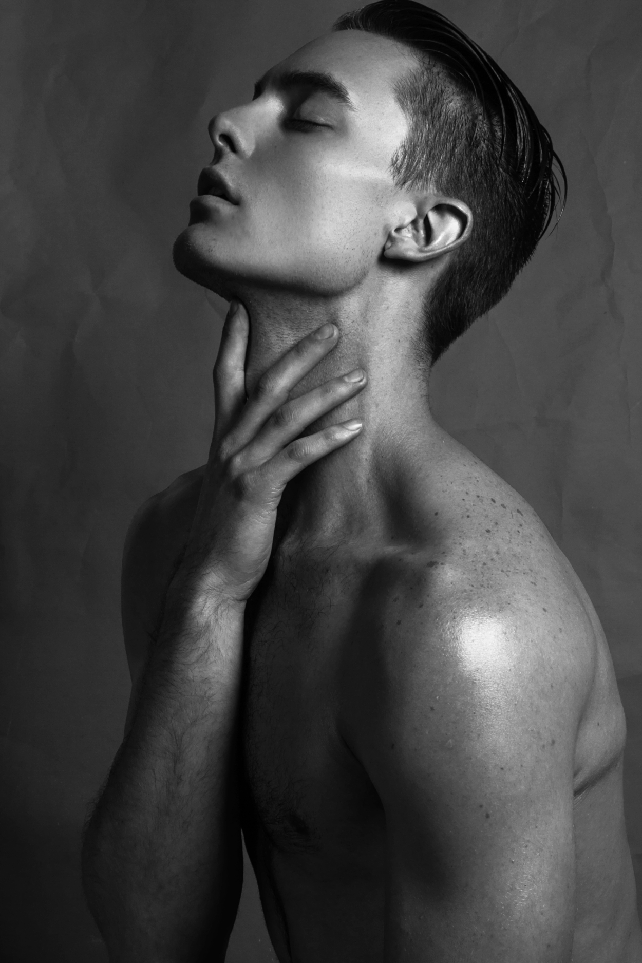 Black and white portrait with divine Edward Alan sublime captured by Balthier Corfi in New York City.