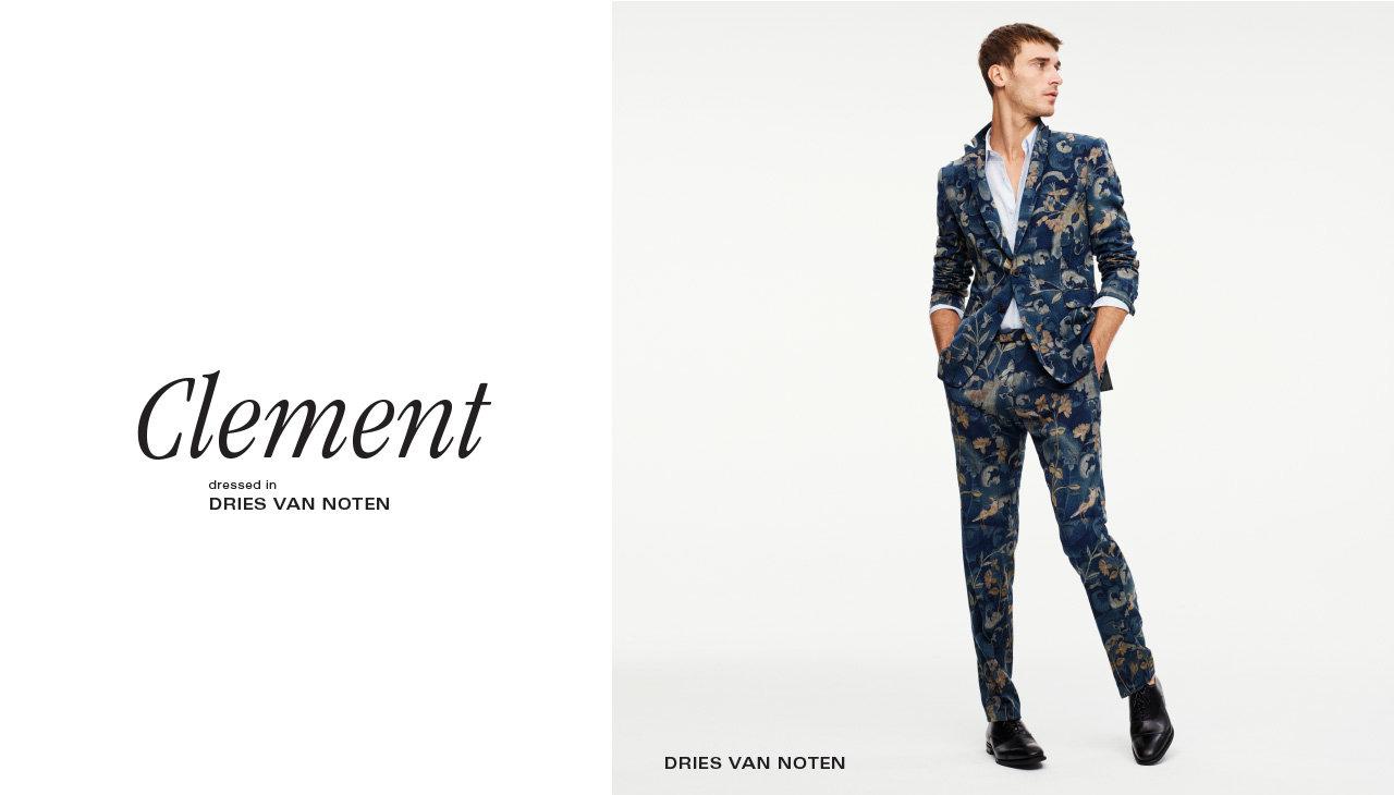 DRIES VAN NOTEN Wool Berger jacket. $1525. Cotton Curley shirt in light blue. $515. Wool Patrini pant. $925. All in petrol print.