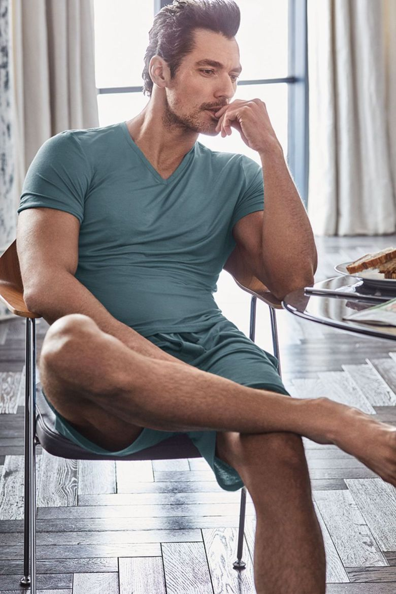 British GQ announces Top model David Gandy for Marks & Spencer loungewear and underwear hitting on stores today on March 16th.