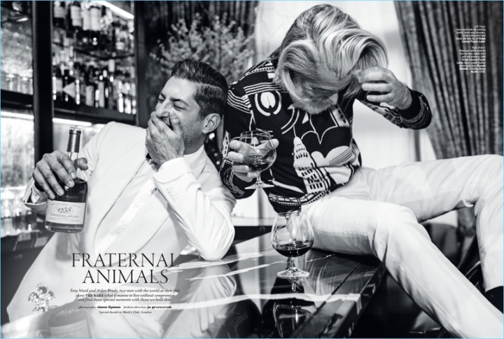 Tony Ward and Aiden Brady makes an editorial for The Rake and takes to Mark's Club in London for the shooting by Simon Lipmann. Tony and Aiden dons outfits from brands such as Ermenegildo Zegna Couture for the occasion. Stylist Jo Grzeszczuk also features labels, which range from Ralph Lauren Purple Label to Caruso.
