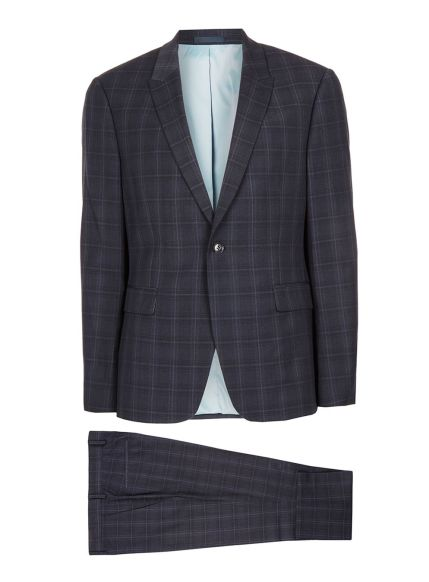 Navy Check Muscle Fit Suit