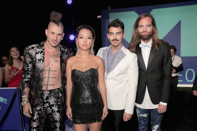 DNCE attends the 2017 MTV Video Music Awards at The Forum on August 27, 2017 in Inglewood, California.