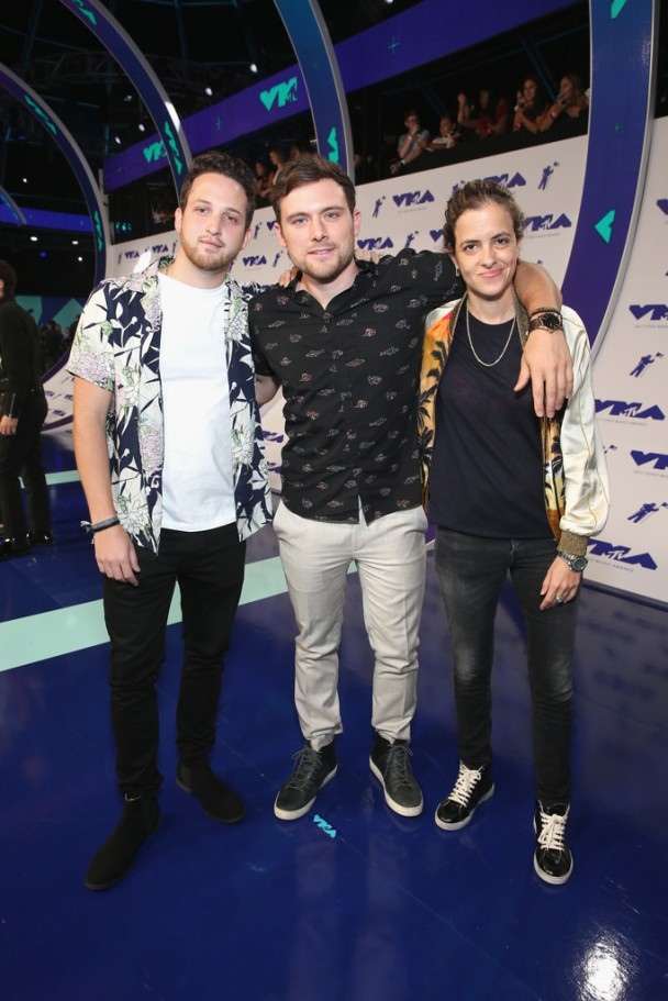(L-R) Pete Nappi, Ethan Thompson and Samantha Ronson of Ocean Park attends the 2017 MTV Video Music Awards at The Forum on August 27, 2017 in Inglewood, California.