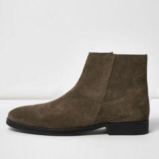 Stone suede zip boots