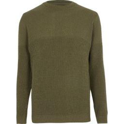 River Island Mens Dark green textured knit slim fit sweater