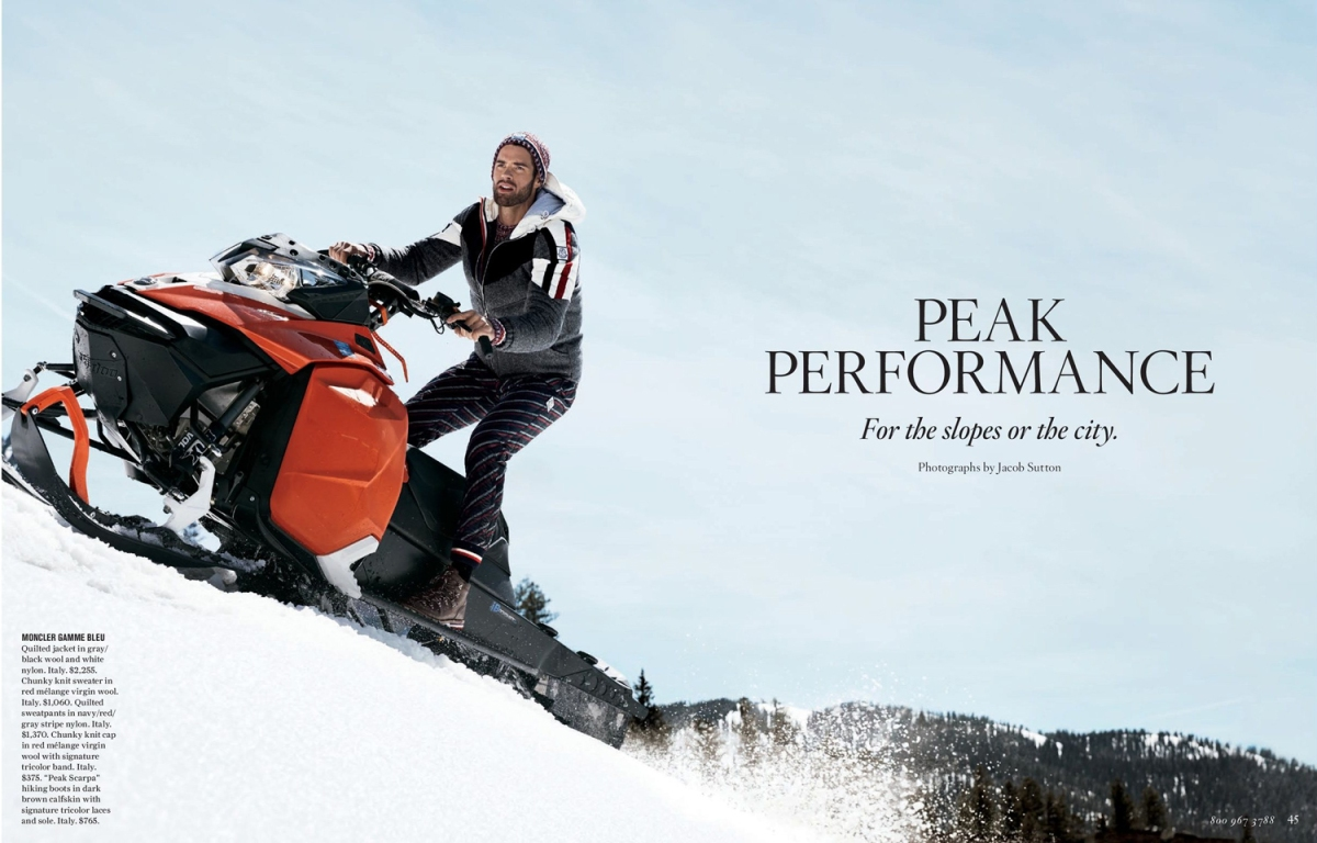 Chad White in Peak Performance for Bergdorf Goodman Fall Collection 2017